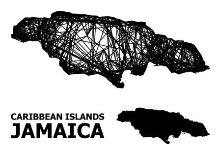 Net vector map of Jamaica. Wire carcass 2D network in vector format, geographic model for economical illustrations. map of Jamaica are isolated on a white background. Ilustracja