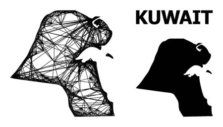 Web vector map of Kuwait. Linear carcass 2D mesh in vector format, geographic model for political compositions. map of Kuwait are isolated on a white background. Ilustracja