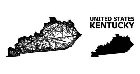 Web vector map of Kentucky State. Linear carcass flat mesh in vector format, geographic model for economics compositions. map of Kentucky State are isolated on a white background.