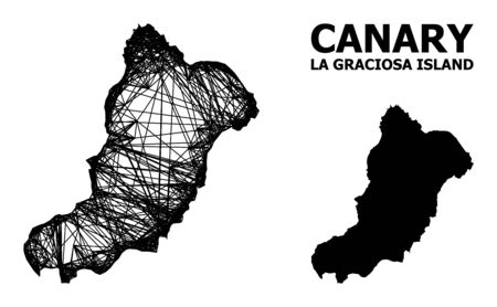 Net vector map of La Graciosa Island. Wire carcass flat network in vector format, geographic template for patriotic posters. map of La Graciosa Island are isolated on a white background.