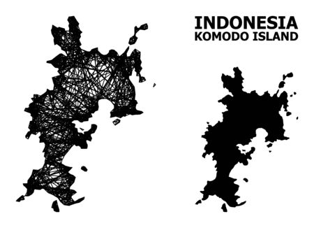 Net vector map of Komodo Island. Wire carcass 2D network in vector format, geographic model for economics compositions. map of Komodo Island are isolated on a white background. Ilustracja