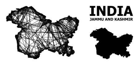 Web vector map of Jammu and Kashmir State. Wire carcass flat mesh in vector format, geographic template for patriotic purposes. map of Jammu and Kashmir State are isolated on a white background. Ilustracja