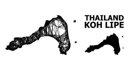 Web vector map of Koh Lipe. Wire carcass flat mesh in vector format, geographic template for political posters. map of Koh Lipe are isolated on a white background.