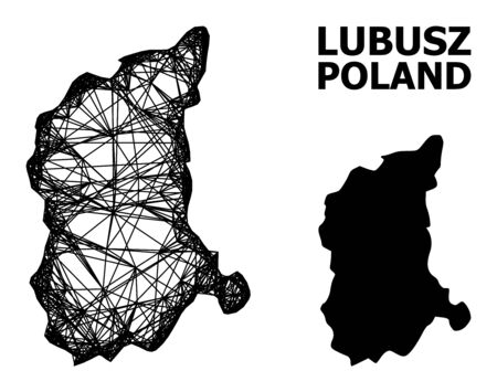 Web vector map of Lubusz Province. Wire carcass 2D mesh in vector format, geographic model for political posters. map of Lubusz Province are isolated on a white background. Ilustracja