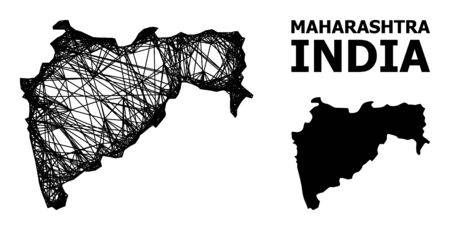 Web vector map of Maharashtra State. Wire carcass 2D mesh in vector format, geographic template for economical purposes. map of Maharashtra State are isolated on a white background.
