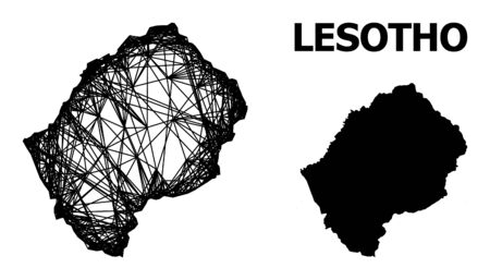 Net vector map of Lesotho. Wire frame flat network in vector format, geographic model for educational purposes. map of Lesotho are isolated on a white background.