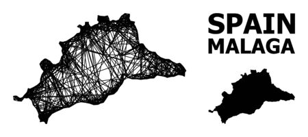 Web vector map of Malaga Province. Wire carcass 2D network in vector format, geographic template for economics compositions. map of Malaga Province are isolated on a white background. Ilustracja