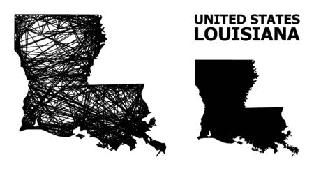 Net vector map of Louisiana State. Wire frame flat mesh in vector format, geographic model for political posters. map of Louisiana State are isolated on a white background. Ilustracja