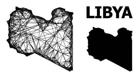 Web vector map of Libya. Wire carcass flat mesh in vector format, geographic template for economical purposes. map of Libya are isolated on a white background. Ilustracja