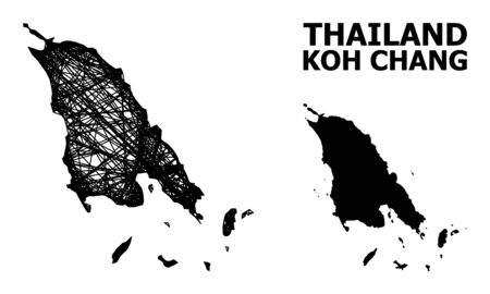 Web vector map of Koh Chang. Linear carcass flat network in vector format, geographic model for economics posters. map of Koh Chang are isolated on a white background.