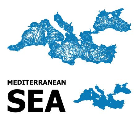 Net vector map of Mediterranean Sea. Linear carcass 2D mesh in vector format, geographic model for economical designs. map of Mediterranean Sea are isolated on a white background. Illusztráció