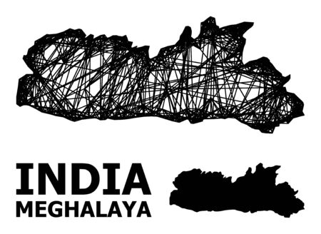 Web vector map of Meghalaya State. Linear carcass flat mesh in vector format, geographic model for educational purposes. map of Meghalaya State are isolated on a white background. Illusztráció