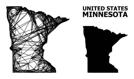 Web vector map of Minnesota State. Wire carcass flat network in vector format, geographic model for economical posters. map of Minnesota State are isolated on a white background. Illusztráció