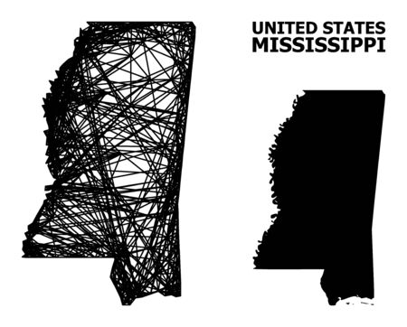 Net vector map of Mississippi State. Wire frame flat mesh in vector format, geographic model for political posters. map of Mississippi State are isolated on a white background.