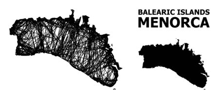 Web vector map of Menorca Island. Wire frame 2D network in vector format, geographic model for patriotic purposes. map of Menorca Island are isolated on a white background. Illusztráció