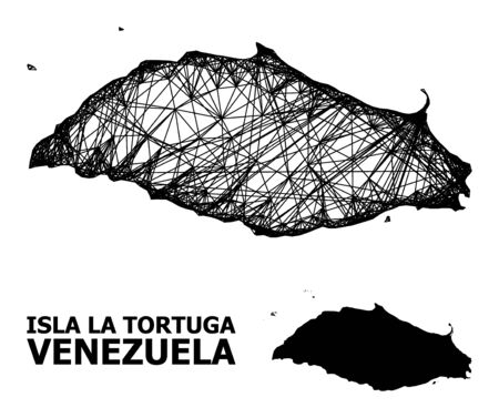 Web vector map of Isla La Tortuga. Linear frame 2D mesh in vector format, geographic template for educational compositions. map of Isla La Tortuga are isolated on a white background. Ilustrace