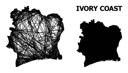 Web vector map of Ivory Coast. Wire carcass 2D mesh in vector format, geographic template for political designs. map of Ivory Coast are isolated on a white background.