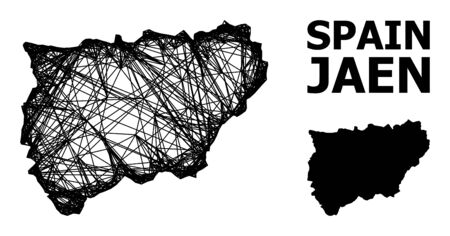 Net vector map of Jaen Spanish Province. Linear carcass flat mesh in vector format, geographic model for educational concepts. map of Jaen Spanish Province are isolated on a white background.