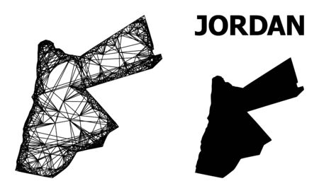 Net vector map of Jordan. Linear frame flat network in vector format, geographic template for patriotic concepts. map of Jordan are isolated on a white background. Ilustrace