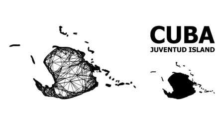Web vector map of Juventud Island. Linear frame flat network in vector format, geographic template for political posters. map of Juventud Island are isolated on a white background.