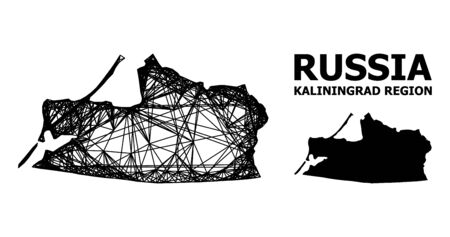 Web vector map of Kaliningrad Region. Linear carcass flat network in vector format, geographic template for economical concepts. map of Kaliningrad Region are isolated on a white background.