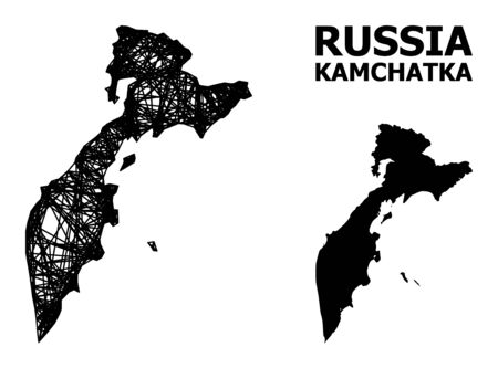 Net vector map of Kamchatka Peninsula. Linear frame flat mesh in vector format, geographic template for economics designs. map of Kamchatka Peninsula are isolated on a white background. Illusztráció