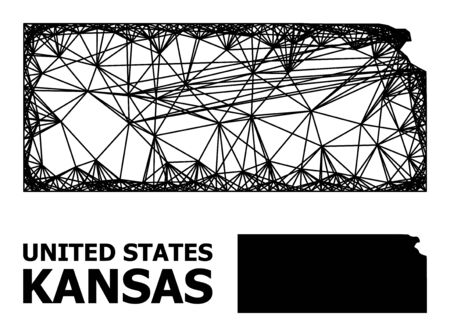 Net vector map of Kansas State. Linear frame flat network in vector format, geographic model for economical concepts. map of Kansas State are isolated on a white background.