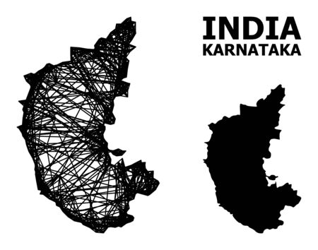 Web vector map of Karnataka State. Linear frame flat network in vector format, geographic model for patriotic designs. map of Karnataka State are isolated on a white background. Illusztráció