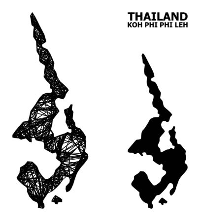 Net vector map of Koh Phi Leh. Wire frame 2D network in vector format, geographic template for patriotic posters. map of Koh Phi Leh are isolated on a white background.