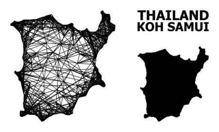Net vector map of Koh Samui. Linear carcass flat network in vector format, geographic model for economics illustrations. map of Koh Samui are isolated on a white background. Illusztráció