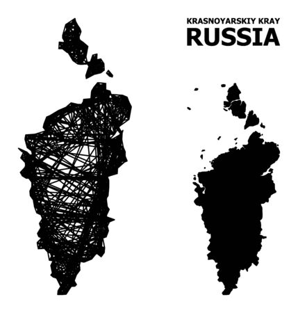 Net vector map of Krasnoyarskiy Kray. Linear frame 2D network in vector format, geographic template for political purposes. map of Krasnoyarskiy Kray are isolated on a white background. Illusztráció