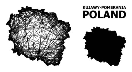Net vector map of Kujawy-Pomerania Province. Wire carcass 2D mesh in vector format, geographic model for political illustrations. map of Kujawy-Pomerania Province are isolated on a white background. Illusztráció