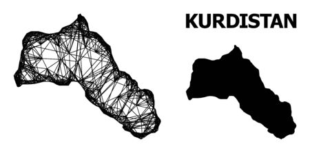 Web vector map of Kurdistan. Wire frame 2D network in vector format, geographic template for educational illustrations. map of Kurdistan are isolated on a white background.