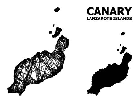 Net vector map of Lanzarote Islands. Wire carcass 2D network in vector format, geographic template for patriotic compositions. map of Lanzarote Islands are isolated on a white background.