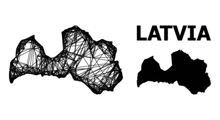 Web vector map of Latvia. Wire carcass flat mesh in vector format, geographic template for educational illustrations. map of Latvia are isolated on a white background. Illusztráció