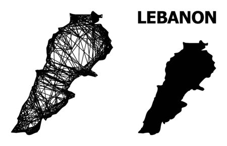 Net vector map of Lebanon. Linear carcass flat network in vector format, geographic template for educational compositions. map of Lebanon are isolated on a white background.