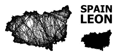 Net vector map of Leon Province. Wire carcass 2D mesh in vector format, geographic template for educational purposes. map of Leon Province are isolated on a white background.