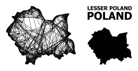 Web vector map of Lesser Poland Province. Wire frame flat network in vector format, geographic template for patriotic concepts. map of Lesser Poland Province are isolated on a white background.