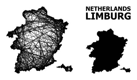 Net vector map of Limburg Province. Linear carcass flat network in vector format, geographic template for economics concepts. map of Limburg Province are isolated on a white background.