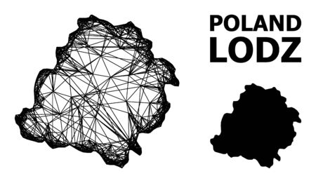 Web vector map of Lodz Province. Wire carcass 2D mesh in vector format, geographic template for economics posters. map of Lodz Province are isolated on a white background. Illusztráció