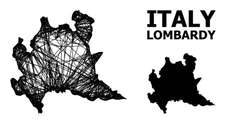 Net vector map of Lombardy region. Wire carcass flat mesh in vector format, geographic model for educational designs. map of Lombardy region are isolated on a white background.
