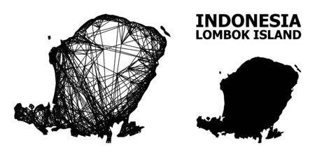 Web vector map of Lombok Island. Linear carcass 2D mesh in vector format, geographic model for political designs. map of Lombok Island are isolated on a white background.