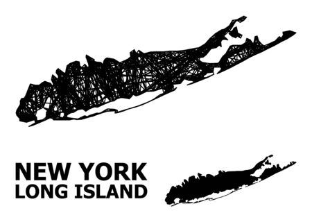 Web vector map of Long Island. Linear frame 2D mesh in vector format, geographic template for economics purposes. map of Long Island are isolated on a white background.