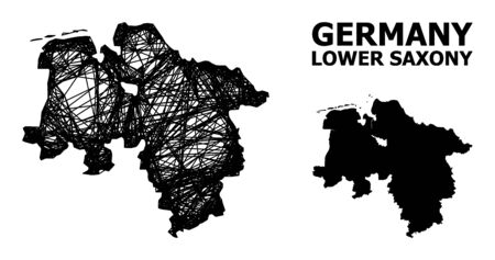 Web vector map of Lower Saxony State. Linear carcass 2D mesh in vector format, geographic model for patriotic illustrations. map of Lower Saxony State are isolated on a white background. Illusztráció