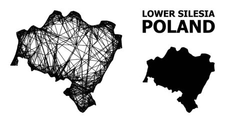 Net vector map of Lower Silesia Province. Linear carcass 2D network in vector format, geographic model for economics compositions. map of Lower Silesia Province are isolated on a white background.