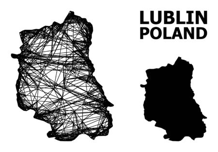 Net vector map of Lublin Province. Linear frame 2D mesh in vector format, geographic model for economical concepts. map of Lublin Province are isolated on a white background. Illusztráció