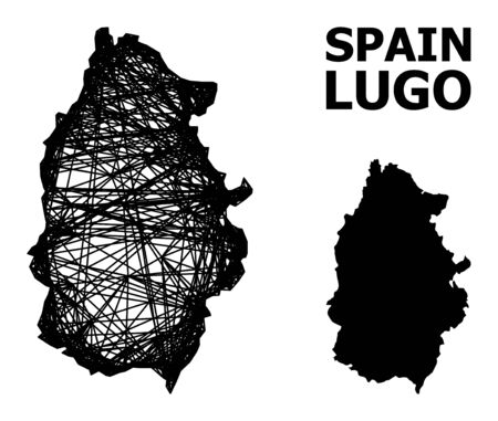Net vector map of Lugo Province. Linear carcass flat mesh in vector format, geographic model for political posters. map of Lugo Province are isolated on a white background.