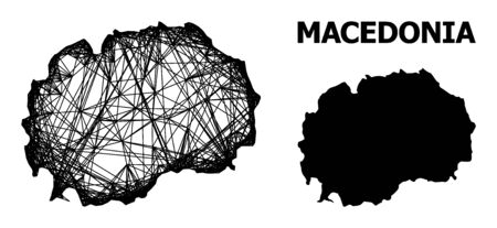 Net vector map of Macedonia. Linear carcass 2D mesh in vector format, geographic template for political purposes. map of Macedonia are isolated on a white background. Stock Illustratie
