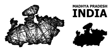 Net vector map of Madhya Pradesh State. Wire carcass flat network in vector format, geographic template for economical concepts. map of Madhya Pradesh State are isolated on a white background.
