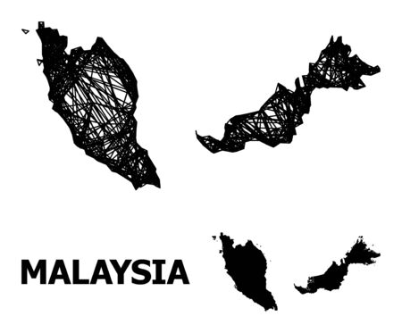Web vector map of Malaysia. Wire frame 2D mesh in vector format, geographic model for economics purposes. map of Malaysia are isolated on a white background.